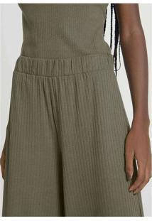 Calça Feminina Pantacourt Em Malha Canelada Verde-