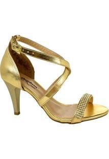 Sandália Dandara Metalizada Feminina - Feminino-Dourado