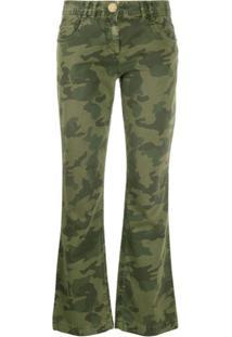 Balmain Calça Cropped Com Estampa Camuflada - Verde