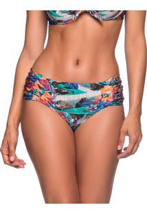 Calcinha Drape Larga Noronha Floral Essencial La Playa 2019 - Azul - Feminino - Dafiti