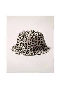 Chapéu Bucket Hat Dupla Face Estampado Animal Print Onça Bege