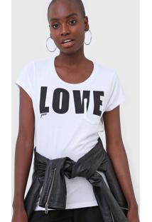 Camiseta Guess Love Branca - Branco - Feminino - Algodã£O - Dafiti