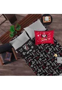 Jogo De Cama Portallar Casal Malha Estampado Disney 3 Peças Joy Jadore Black Red