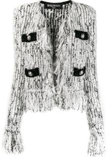 Balmain Fringed-Trimmed Tweed Jacket - Branco