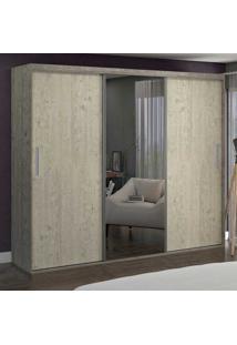 Guarda-Roupa Casal 3 Portas Com 1 Espelho 100% Mdf 1979E1 Demol/Marfim Areia - Foscarini
