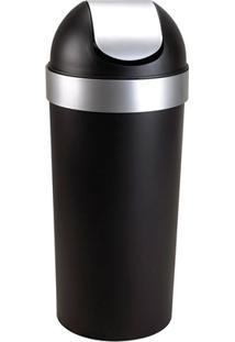 Lixeira Em Plástico Basculante 62 Litros Preta E Cromada