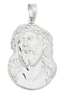 Pingente Face De Cristo Tudo Joias Folheada A Ródio Prata - Masculino-Prata