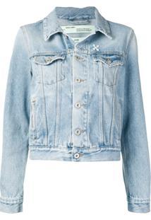 Off-White Jaqueta Jeans Com Logo - Azul