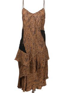 Almaz Vestido Assimétrico Com Estampa De Zebra - Marrom