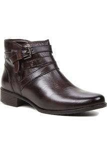 Bota Couro Shoestock Flat Fivelas Feminina - Feminino-Café