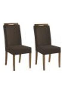 Kit 2 Cadeiras Estofadas Heloísa 100% Madeira Suede Marrom