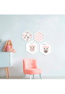 Kit 4 Quadros Com Moldura Hexagonal It'S A Girl