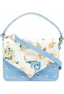 Versace Jeans Couture Baroque Pattern-Print Satchel Bag - Azul