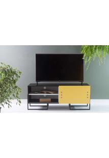 Rack Para Tv Compacto Preto Estilo Industrial Porta De Correr Amarela Pés De Metal Crosby 123X43,6X48,5 Cm