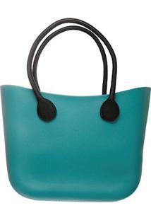 Bolsa Silicone Maxi Bicolor Azul Com Alças Pretas Fixadas E Sem Fecho