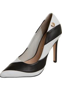 Scarpin Carmim Black & White Preto/Branco