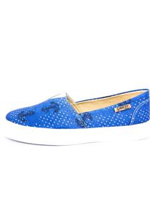 Tênis Slip On Quality Shoes Feminino 002 Âncora Azul 35