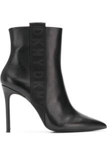 Dkny Ankle Boot Com Logo - Preto