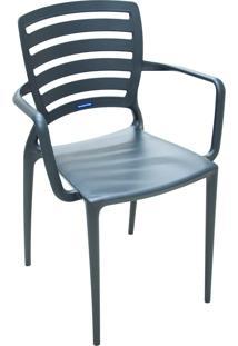 Cadeira Tramontina 92036007 Summa Sofia Com Encosto Vazado Grafite