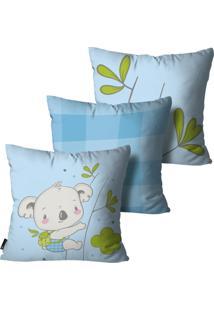 Kit Mdecore Com 3 Capas Para Almofada Infantil Coala Azul 55X55Cm - Azul - Dafiti