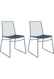 Kit 2 Cadeiras 1712 Azul Noturno - Carraro Móveis