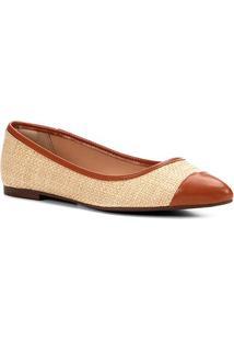 Sapatilha Shoestock Bicolor Bico Fino Feminina - Feminino-Caramelo
