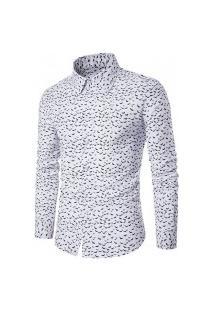 Camisa Masculina Slim Estampada - Branca