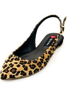 Sapatilha Slingback Love Shoes Bico Fino Onça