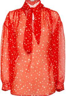 Miu Miu Blusa Georgette Estampada - Vermelho
