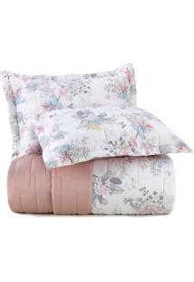 Jogo De Colcha Casal Altenburg Essence 200 Fios 100% Algodão Flowery Vibes Rosa