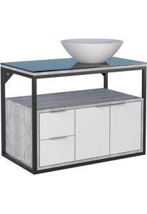 Gabinete De Banheiro Apoema 79,7X45,2Cm Branco Com Calcare Cozimax