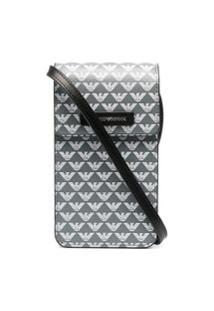 Emporio Armani Logo Print Crossbody Bag - Cinza