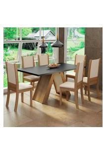 Conjunto Sala De Jantar Madesa Paola Mesa Tampo De Madeira Com 6 Cadeiras Marrom
