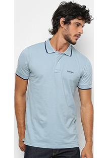 Camisa Polo Wrangler Friso Bordada Masculina - Masculino-Cinza