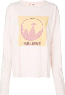 Marni Blusa De Moletom Com Slogan 'I Believe' - Rosa