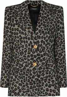 Versace Blazer Com Estampa De Leopardo - Branco