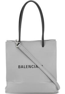 Balenciaga Logo-Print Shopping Tote - Cinza