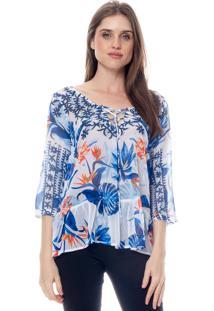 Blusa 101 Resort Wear Tunica Crepe Babados Manga 34 Estampada Floral Azul