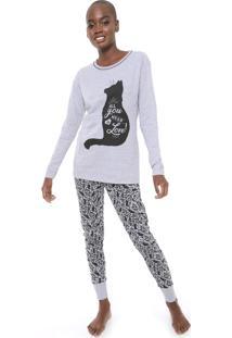 Pijama Pzama Estampado Cinza