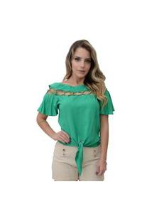 Blusa Mamorena Canoa Decote Tiras Verde