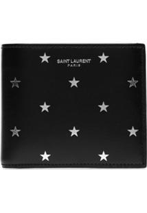 Saint Laurent Carteira Dobrável Com Estampa De Logo - Preto