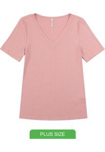 Blusa Canelada Básica Com Decote V Rosa