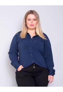 Camisa Plus Size Palank Granada Feminina - Feminino-Marinho