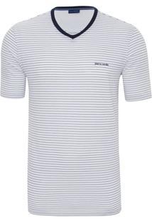 Camiseta Branca E Azul Listrada