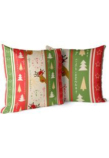 Kit 2 Capas Para Almofada Love Decors Decorativas Merry Christmas - Kanui