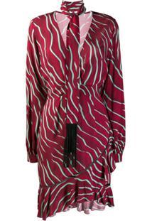 Just Cavalli Vestido Animal Print Com Lenço Acessório - Vermelho