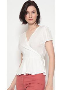Blusa Com Transpasse Amarração- Branca- Vip Reservvip Reserva