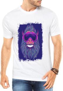 Camiseta Criativa Urbana Macaco Neon Branca