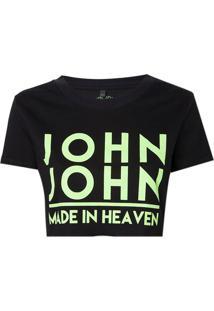 Camiseta John John Jj Logo Neon Malha Preto Feminina (Preto, G)