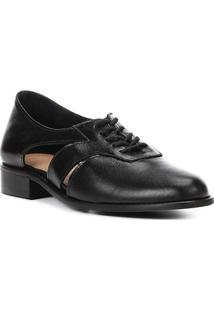 08a2fe6710 ... Oxford Couro Shoestock Vazado Feminino - Feminino-Preto